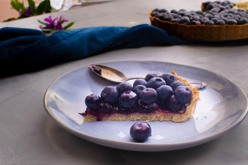 one slice of blueberry hazelnut tart to see the coulis on the inside