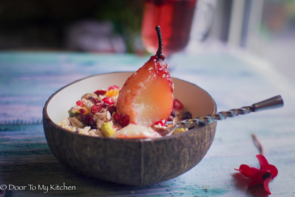 Poached Pear Bircher Muesli - Door To My Kitchen