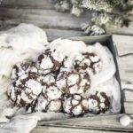 Close up of grey tin with chocolate snowball cookies